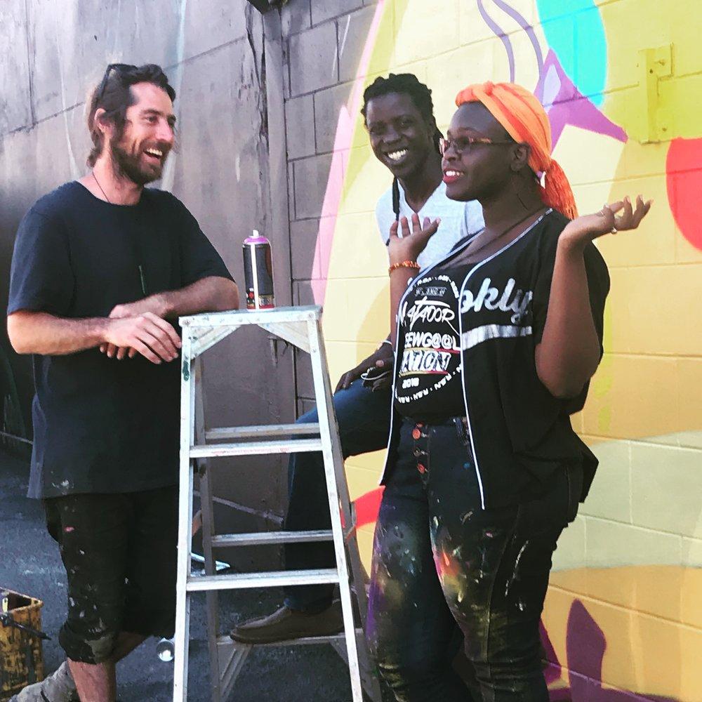 Three of our 2018 artists, from left -South Australian street artist Seb Humphreys, Senegalese street artist Zeinixx and Kenyan visual artist Onyis Martin.