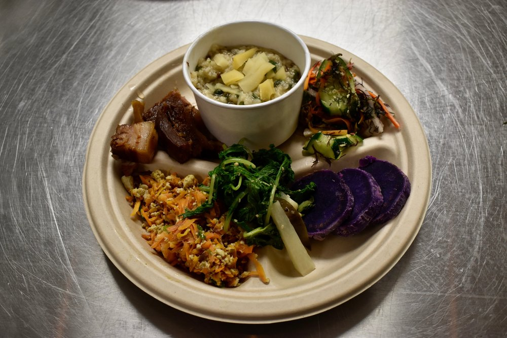 Kandaba Jushi - Rice porridge with Homestead Poi ho'i'o, Ho'oulu 'Aina sweet potato greens and mugwortBy Grant Sato and Dawn Mahi