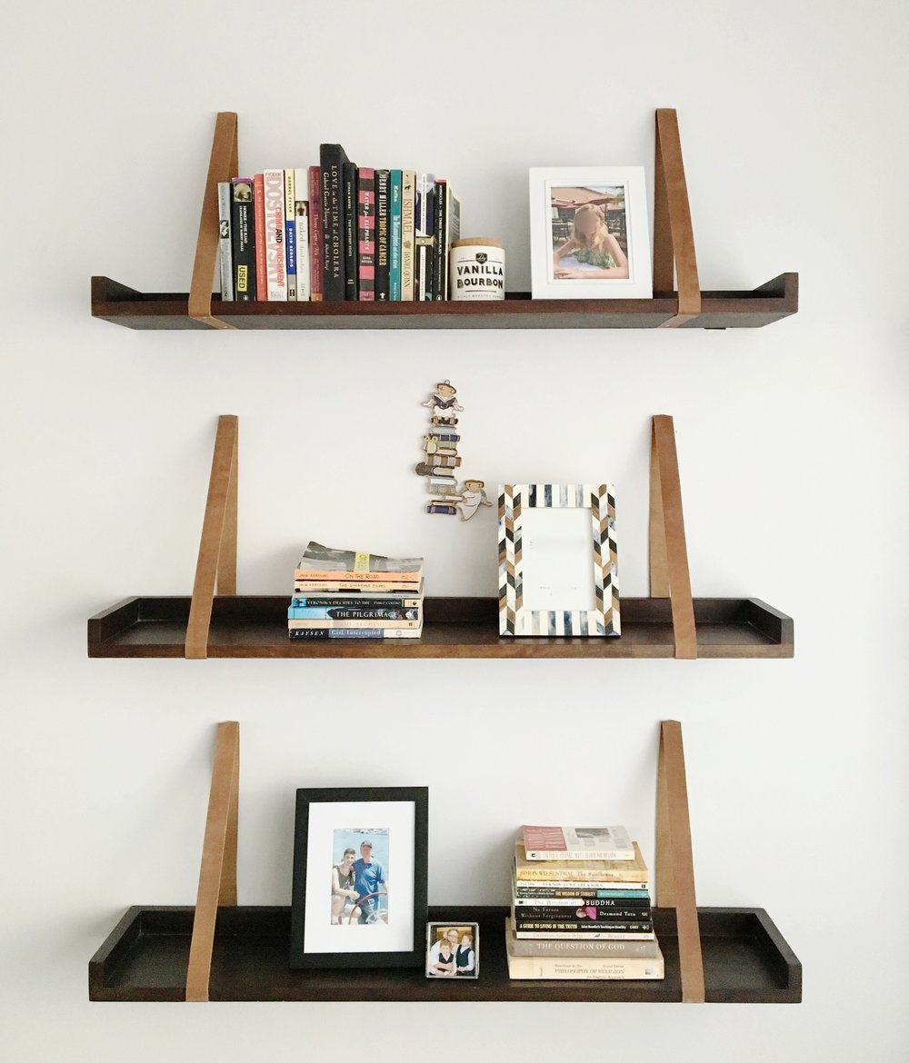 Wood & Leather shelving