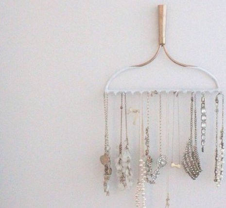 Rakes - Who said rakes are only for outdoor use? HGTV shared how an old rake head can be turned upside down and hung on a wall to organize necklaces, bracelets and other bits of jewelry. Spray paint to fit your color palette! This would also work well to organize belts, sunglasses, & keys!