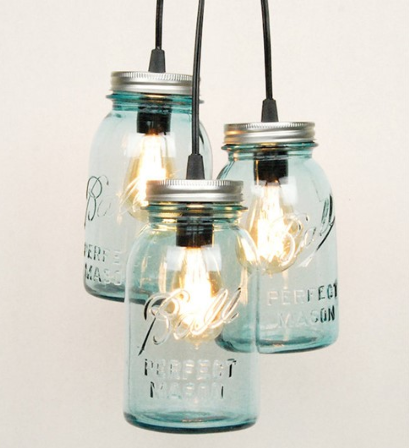 Glassware - Twisted Sifter showed how old containers such as mugs, bowls, and bottles can be up-cycled into fun and eye-catching light fixtures. Use opaque jars if you want mood lighting; use an old bowl to make a lovely kitchen pendant.