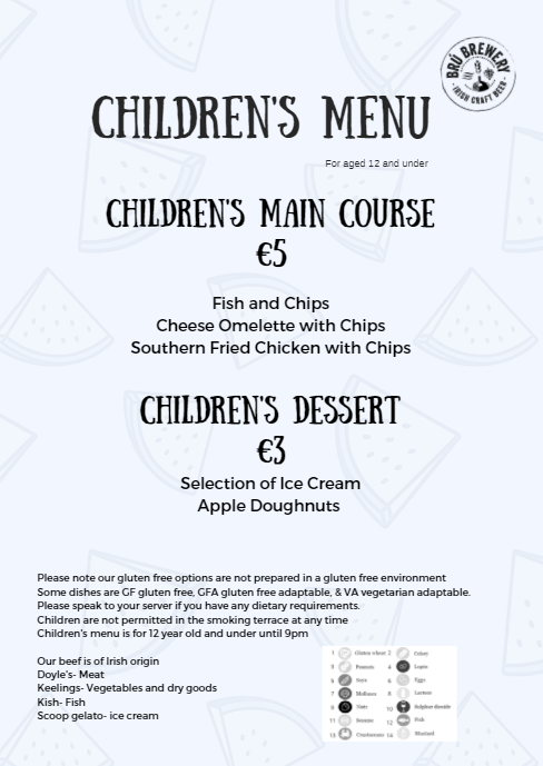 Children's menu for 12's and under