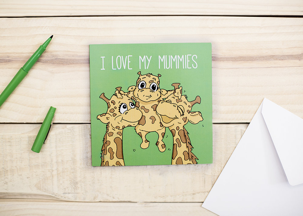 I Love My Mummies, same-sex Mothers Day Card