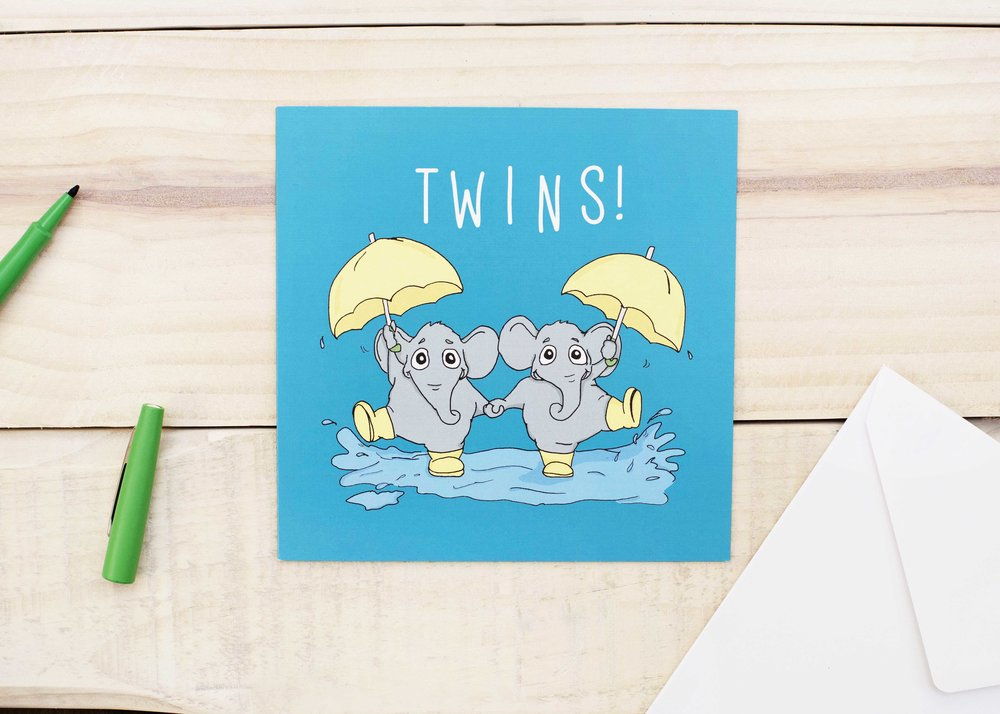 Twins! New Baby card