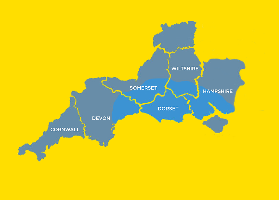 The core Distribution Service covers approximately, from Sidmouth in the West to Glastonbury in the North and to Portsmouth in the East.