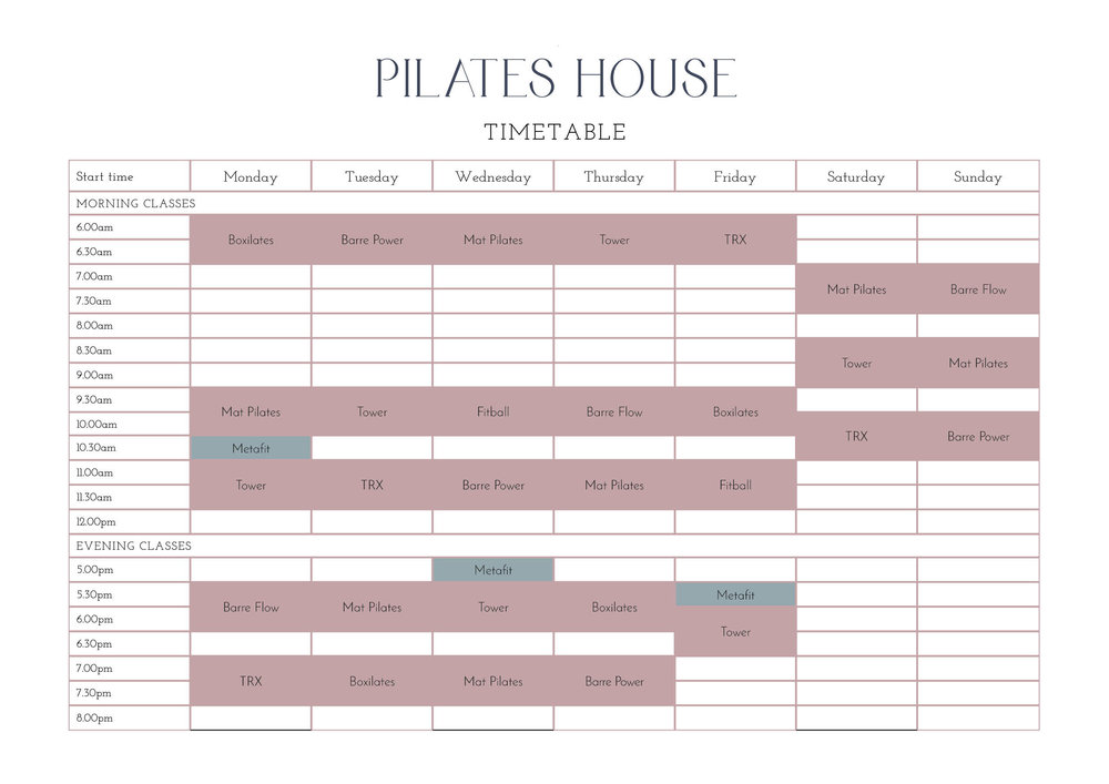 Class Timetable  Pilates House