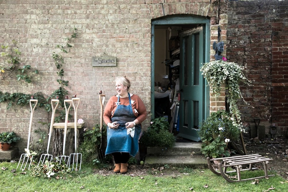 Suffolk sculptor Vanessa Stollery outside her studio at Glemham Hall