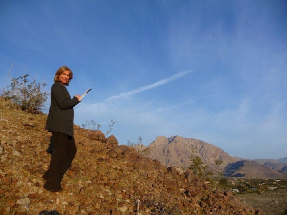 Pauline Clyde drawing Indian Head Rock, Borrego Desert, CA. 2010