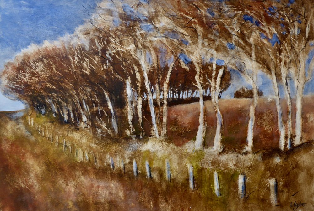Trees at Lucott Cross  acrylic on board 67 x 46 cm £550
