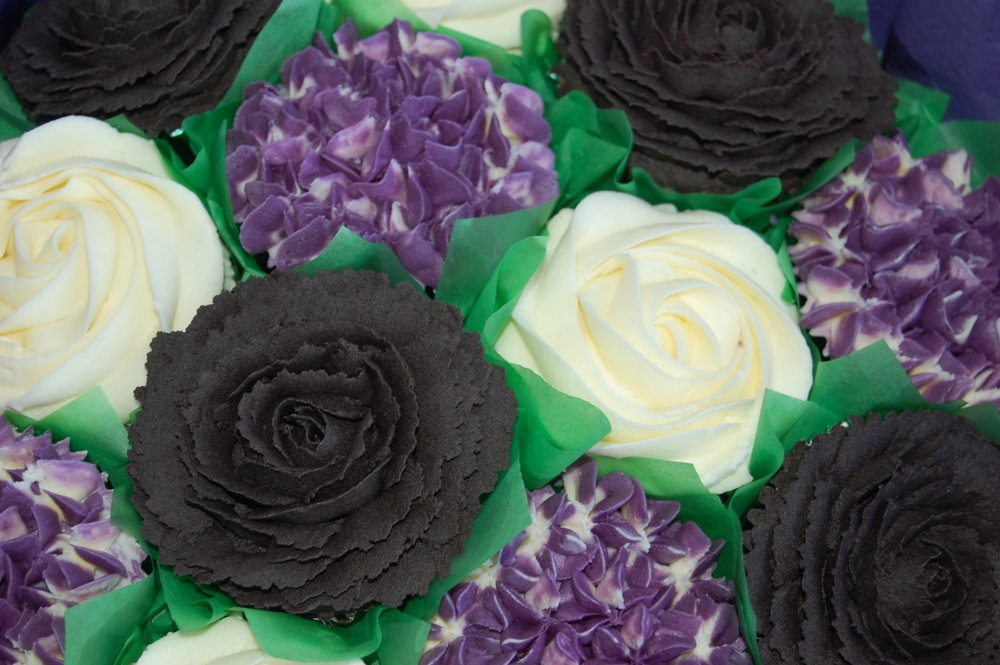 Black and purple cupcake bouquet