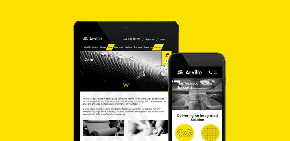 Arville Textiles - responsive mobile design