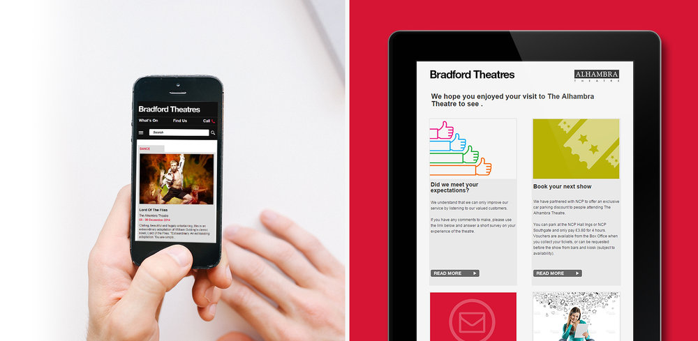 Bradford Theatres - responsive mobile and email marketing