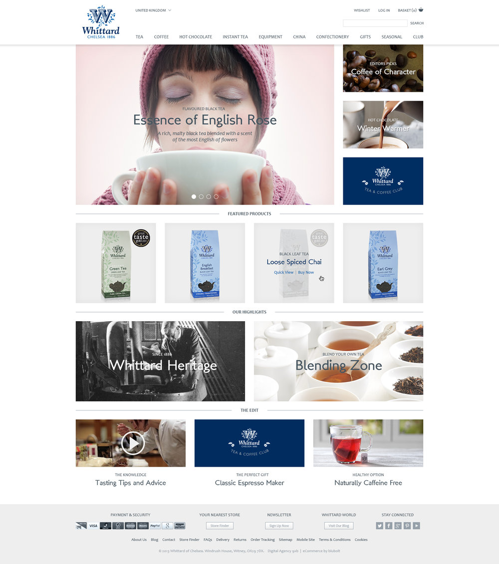 Whittard of Chelsea - site designs