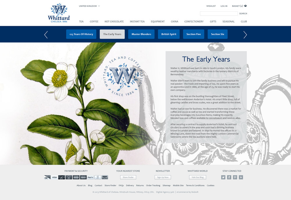 Whittard of Chelsea - heritage page design