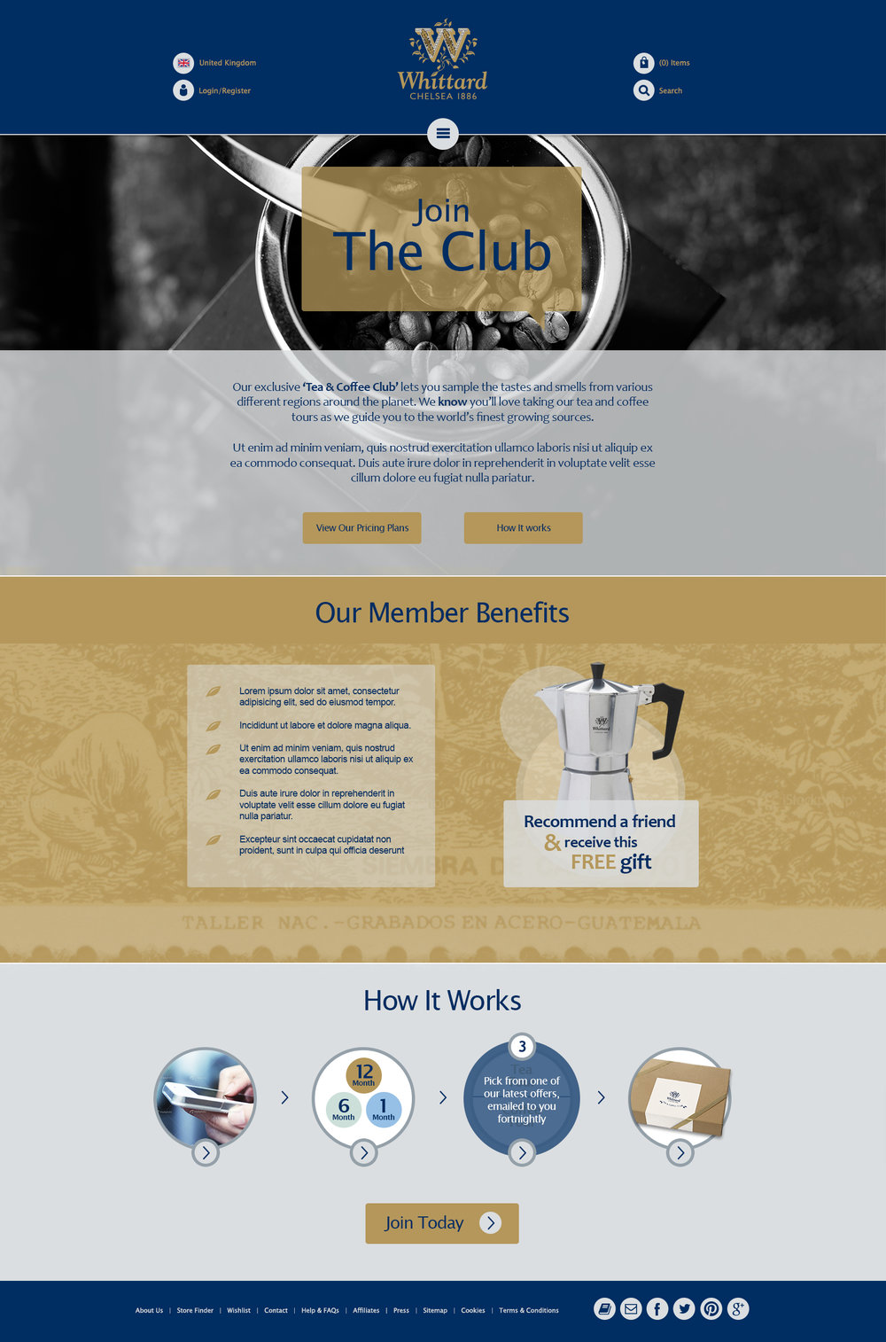 Whittard of Chelsea - tea and coffee club designs