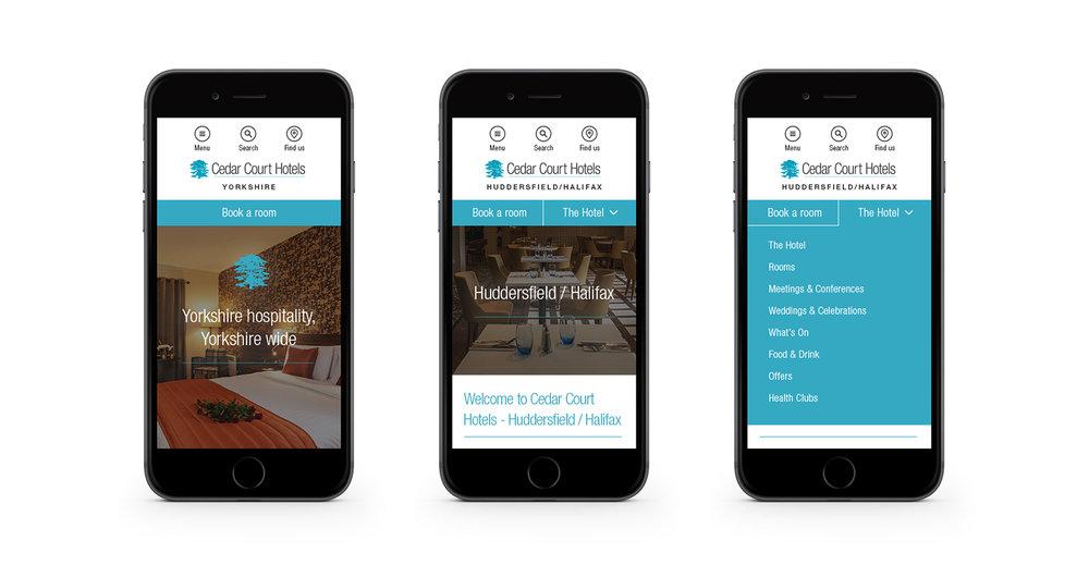 Cedar Court Hotels - responsive mobile designs