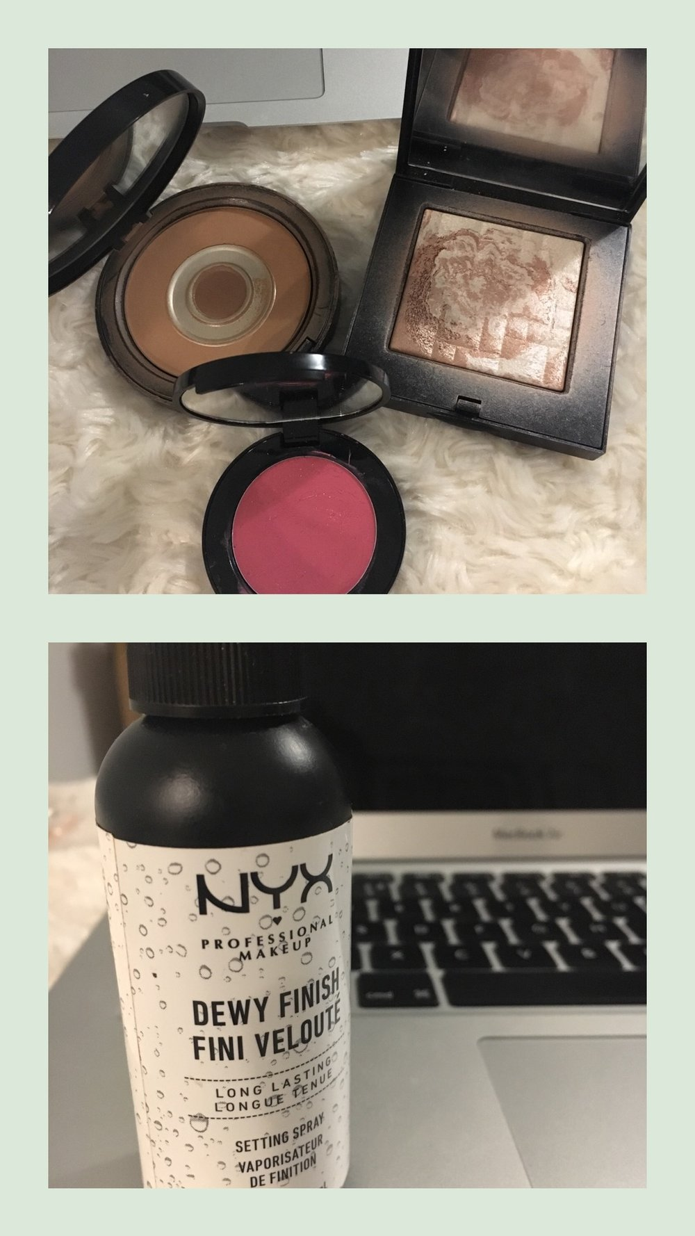 I bronze throughout the year and so it needs to be a good one and not make me break out. I always re buy this one and the pot rouge is gorgeous. This shimmer brick is lovely but you can buy cheaper ones. Try the  Soap and Glory for £10.  Plus buy this  Dewy fixing spray from NYX,  gives you a little glow! and its only £7.00