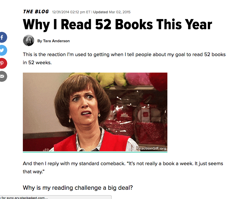 Huffington Post - Why I Read 52 Books this Year