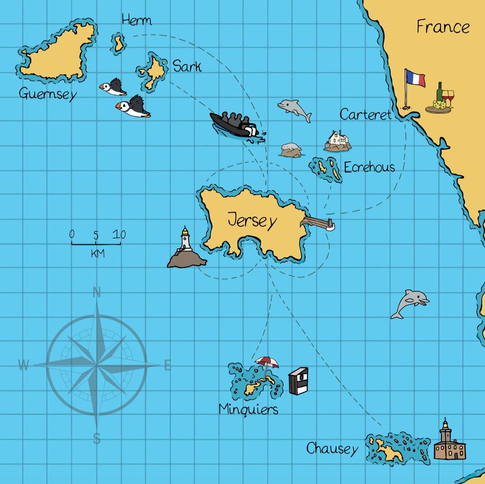 jersey seafaris map