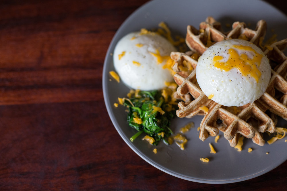 Poached Eggs, Waffles, Spinach, and Cheddar
