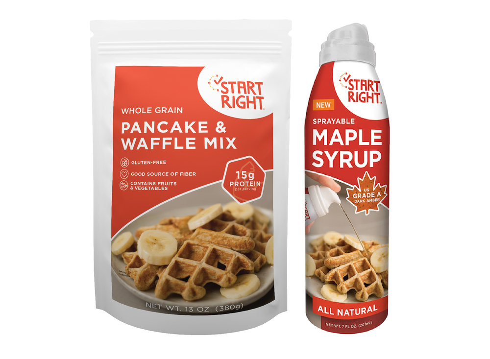 Pure Maple syrup, 100% pure maple syrup, Start Right, Start Right Waffle mix, pancake mix, high protein waffles, high protein pancakes, gluten free, serving of fruits on veggies, convenient breakfast, healthy breakfast