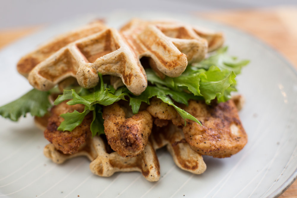 Chicken & Waffles - Breading Ingredients: 1 Cup Start Right Mix, 3 Tbsp Salt, 2 Tbsp Onion Mix, 2 Tbsp Cumin, 1 Tbsp Pepper, 1 Tbsp Cornstarch⠀Directions:⠀Mix all ingredients together and place in a shallow dish. Dredge chicken strips in breading and shake off excess. Place breaded chicken strips on a baking pan and cook in oven at 350F for 12-15 minutes or until golden brown. Serve between two Start Right Waffles⠀