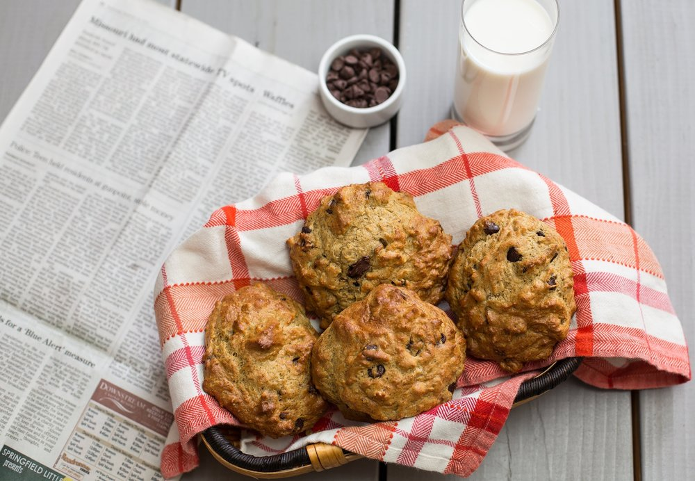 "Scones - Ingredients: ½ Cup Softened Butter, 1 Cup Brown Sugar, 1 Tsp Vanilla, 1 Egg, 2 Cups Start Right Mix, 1 Cup Chocolate Chips⠀Directions:⠀Preheat Oven to 350. Mix butter and sugar until light and fluffy. Beat egg and vanilla together. Add mix, stir in chips. Portion and place 2"" apart on a cookie sheet. Bake 8-10 minutes.⠀"