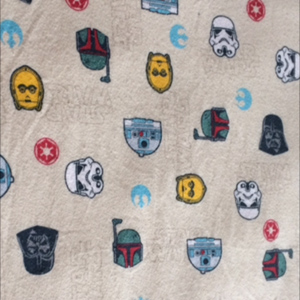 Star Wars sheets for the little boy may help assuage the too light color of blue.