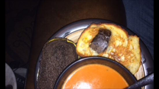 Once I made tomato soup and grilled cheese but the sourdough had a big air pocket hole, so I fixed it with a pumpernickel patch and some cheese glue.