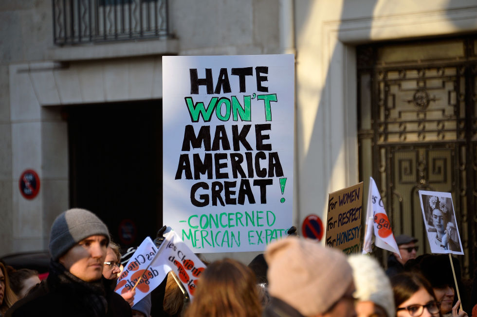 """Hate"" and ""great"" give this slogan rhyme and contrast. © Getty"