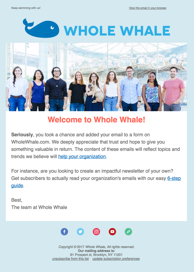 Whole Whale has a nice team photo and brief welcome message.