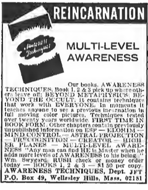 Ad from the January 1973 issue of Fate