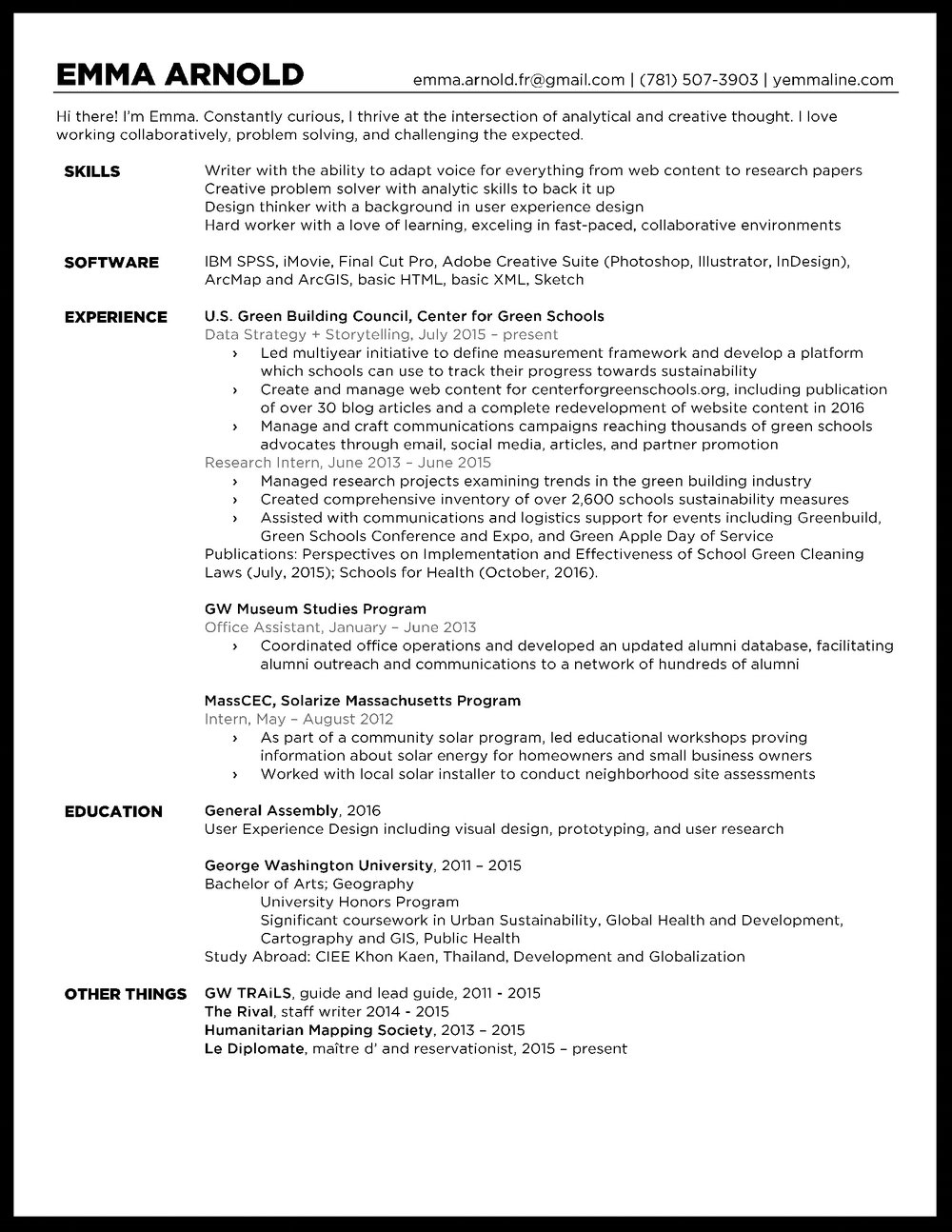 Resume, current as of January, 2017