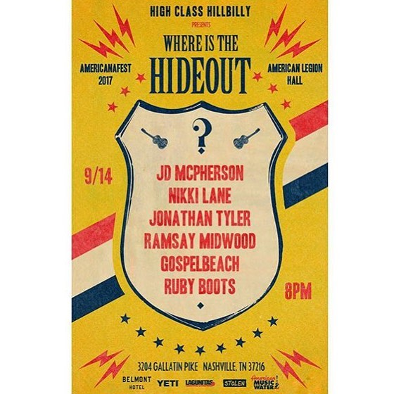 Nashville, don't forget about tomorrow. @whereisthehideout at the Legion. Show starts at 8, get there early if you still need a ticket.