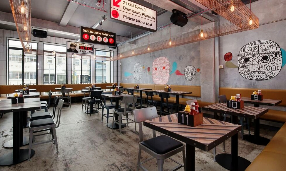 HUBBOX - Inspired by New York street food, HUBBOX serves up Gourmet Burgers, Hot Dogs, BBQ & Craft Beers. Admire the quirky, illustrative decor whilst chomping on exciting food made from the best ingredients the South West has to offer. Choose from their ever changing selection of Craft Beers, malt shakes and soft drinks.01752 604759