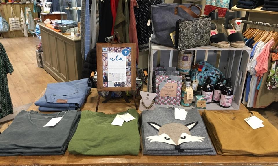 "ULA CLOTHING - British design that reflects the Cornish landscape plus some on trend prints and shapes with lots of organic and fairtrade where possible. Fabulous customer service, putting this boutique on the fashion ""must see"" map."