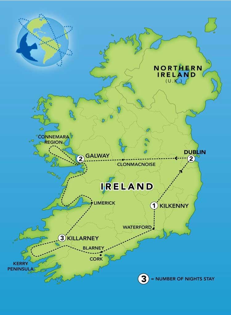 Blarney Ireland Map.Ireland Bluebird Guided Tours