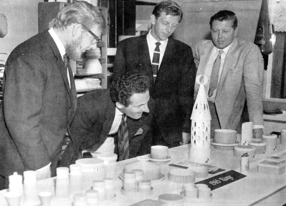In the Design Studio admiring the Abbey Lantern and Summertime Range, early 1960s. Left to right: John Clappison, David Queensbury, Colin Rawson and Desmond Rawson.