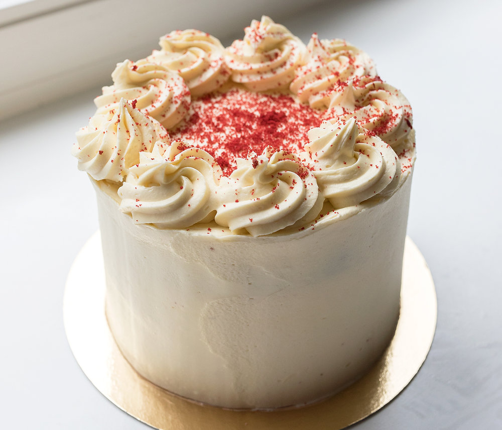 Red Velvet Cake - One of our most special cakes is the Red Velvet cake, it serves up to 20 people and costs 55,-. We also offer a smaller version that serves up to 12 people and costs 37,50