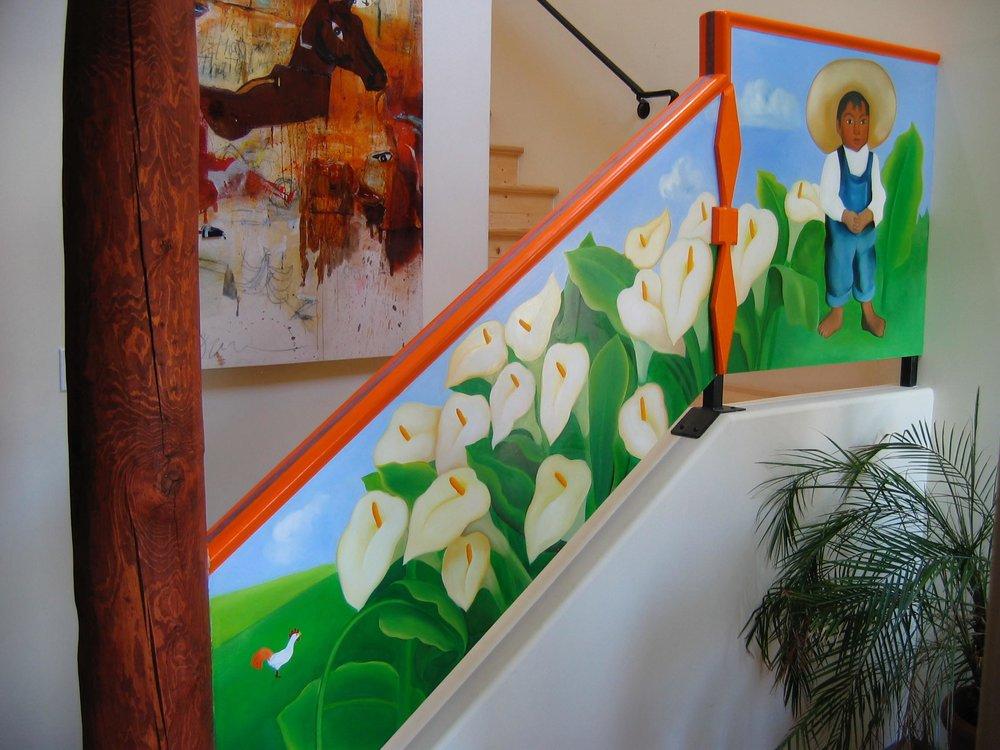 Folk art inspired mural on staircase