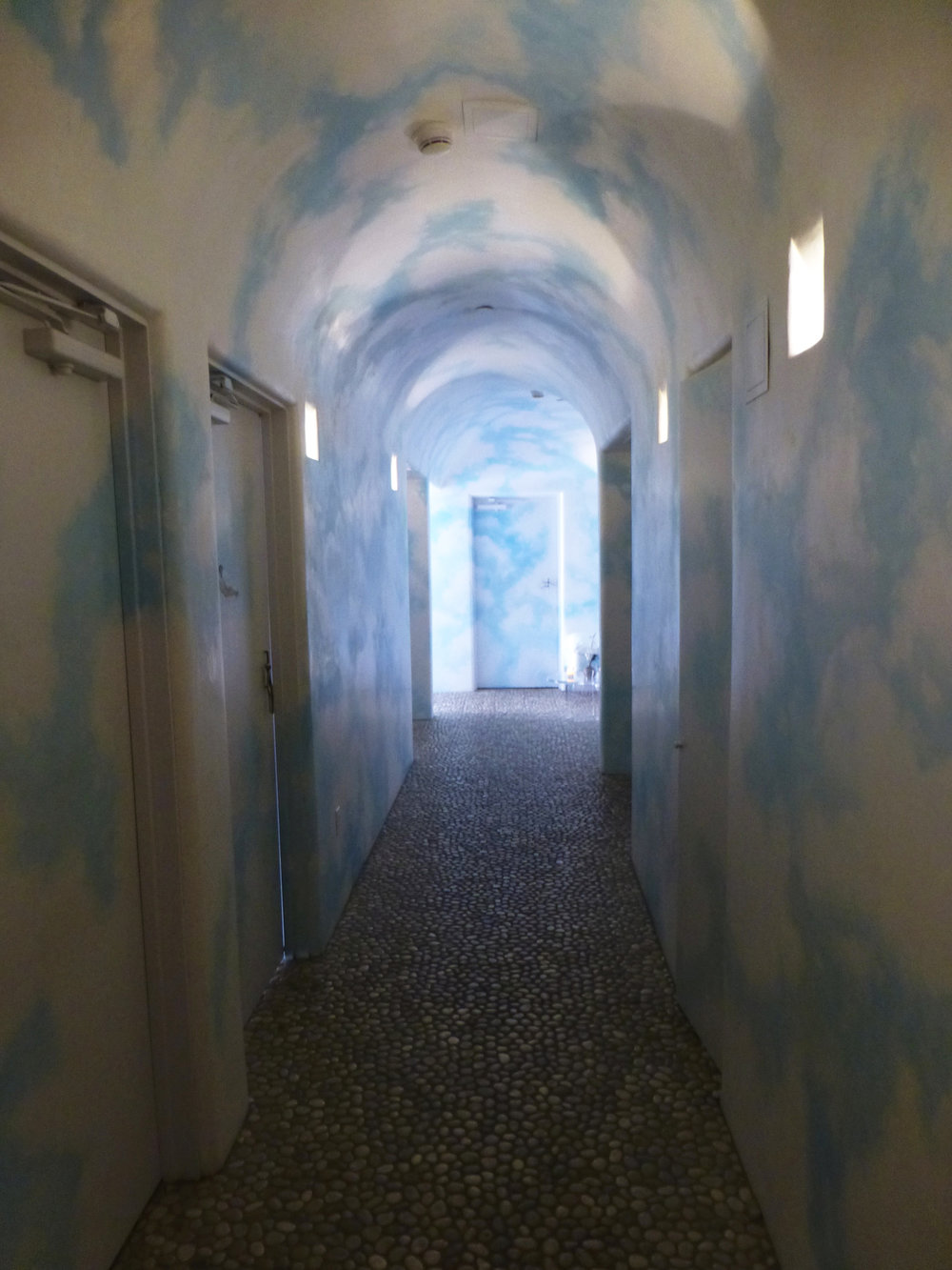 Spa interior painted with clouds