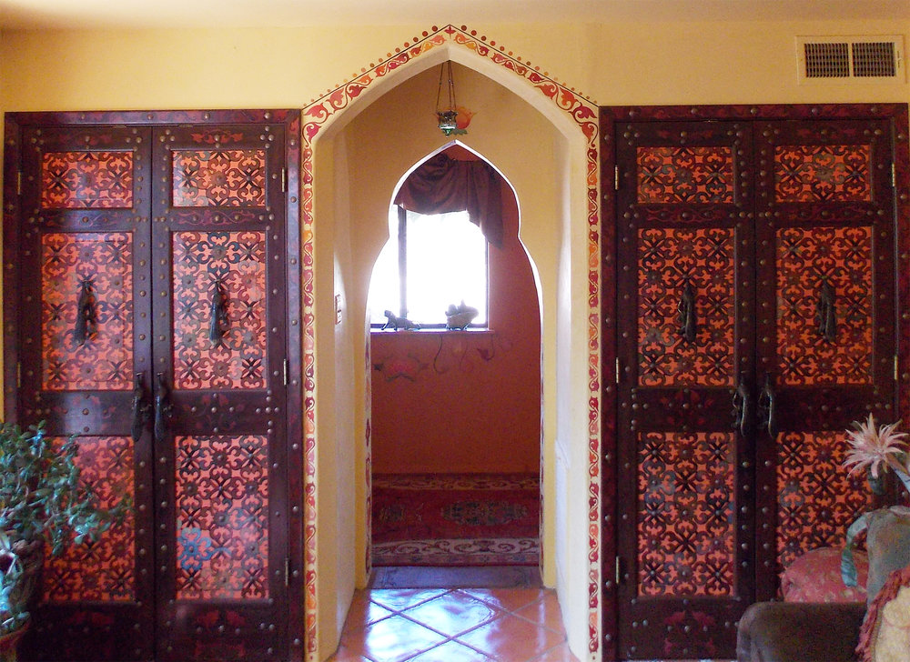 Painted doors and archway
