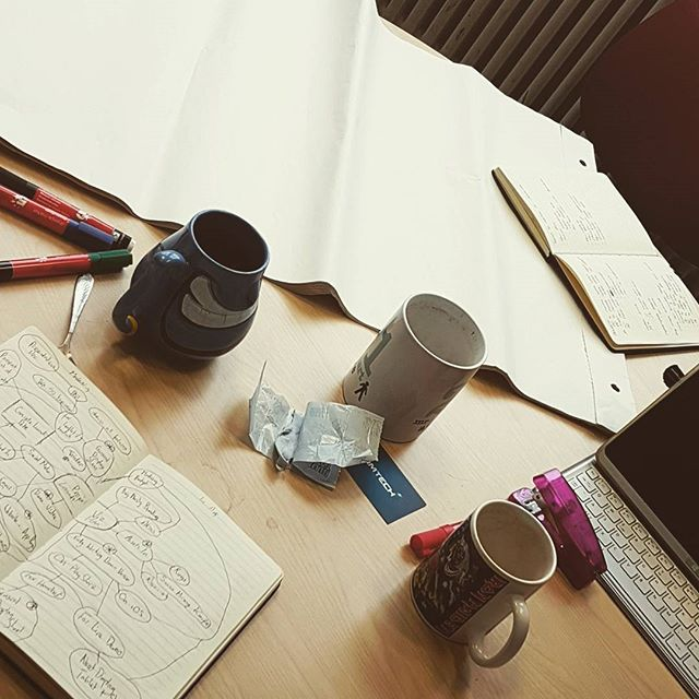 Morning meeting aftermath! Plenty of coffee and plenty of ideas! Complete with novelty mugs! . . . . . . . #sme #bignastystudios #brainstorming #planning #meeting #smartarse #genie #ironmaiden #busy #ideas #discussion #schedule #milestones