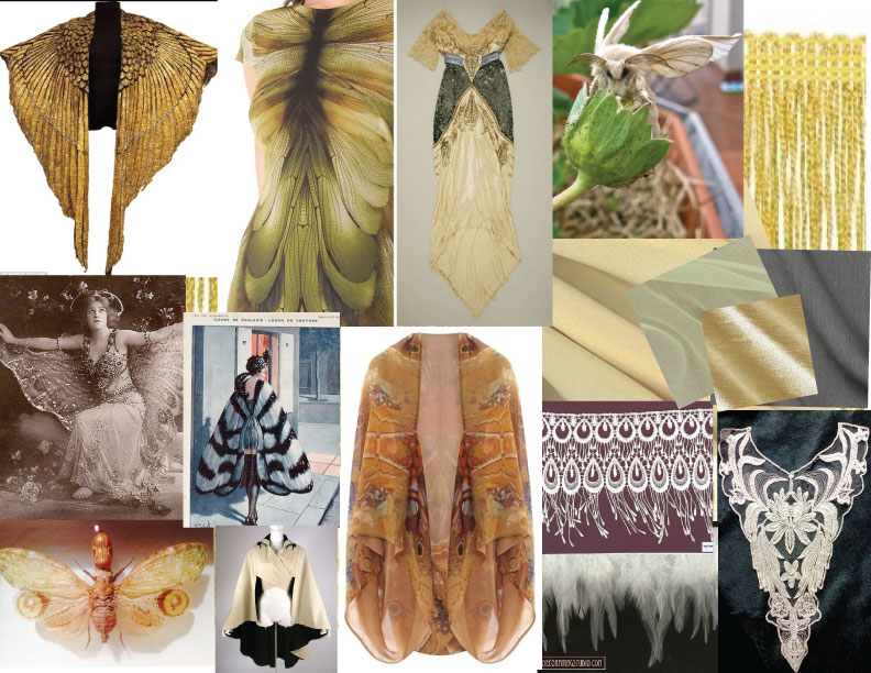 A collage of inspiration for Stevie's shawl