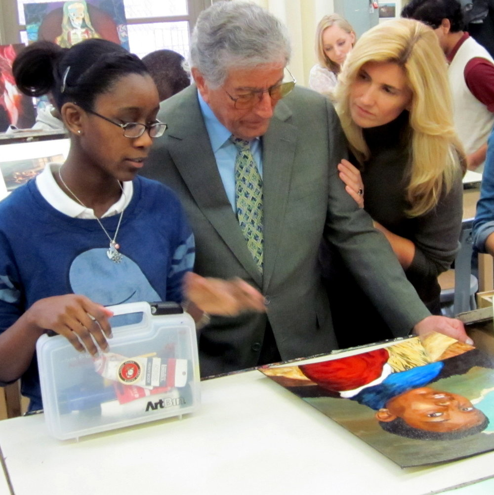 Tony & Susan visit a painting class at Brooklyn High School of the Arts.