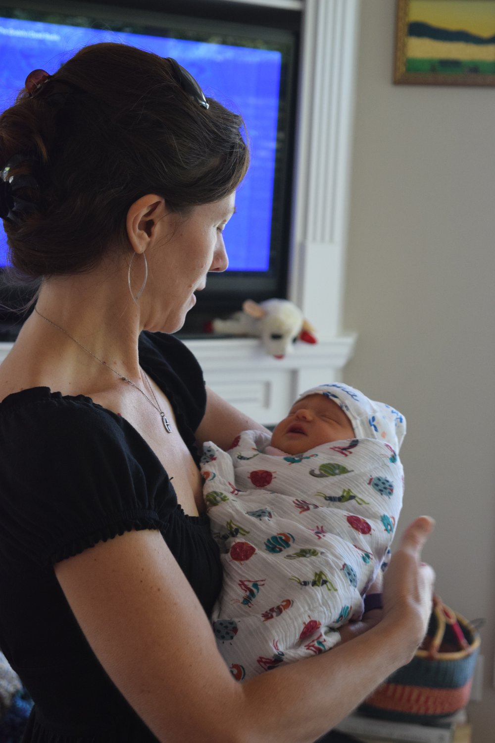 Allison Rollans with newborn baby Cora, 24 hours old.