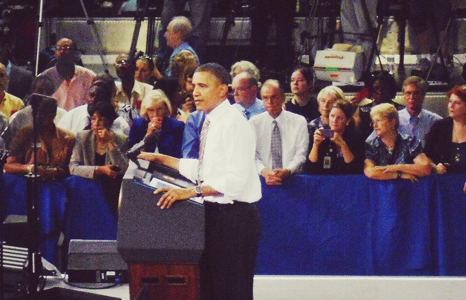 President Obama speaking at Reynolds Coliseum at N.C. State | Photo: Chris White