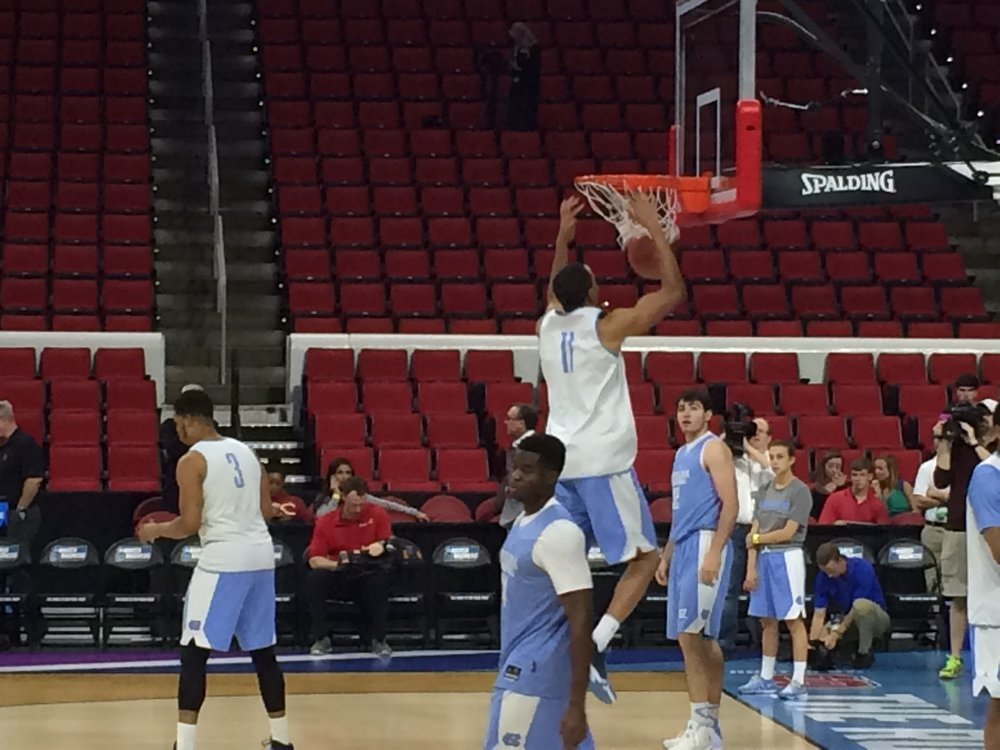 Scene from UNC's Open Practice at PNC Arena last March during the NCAA Tourney. | ©2016 Chris White