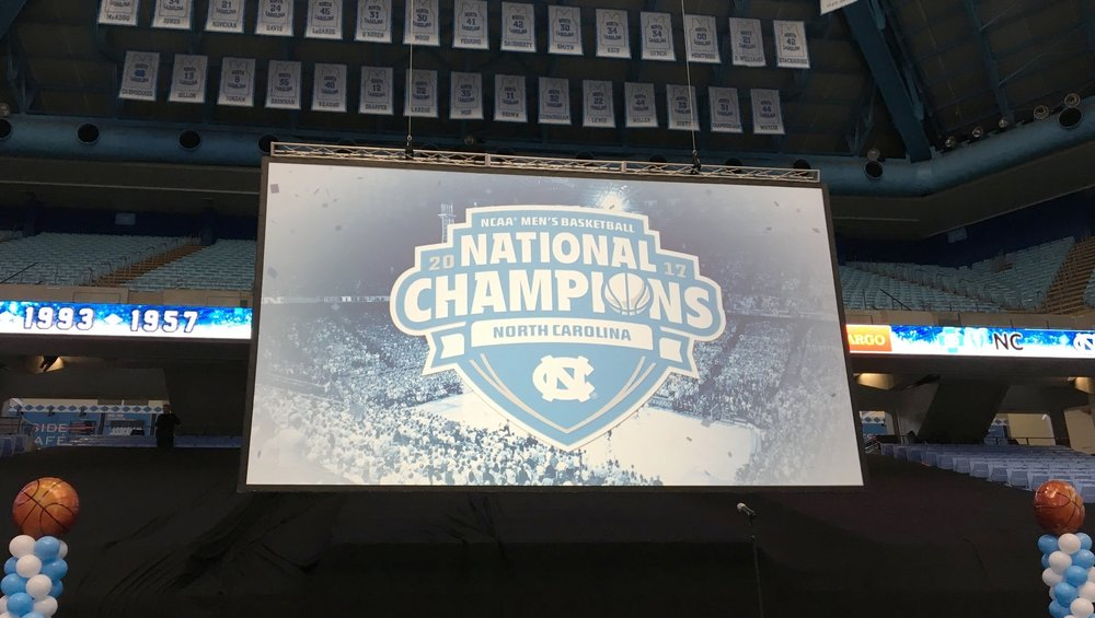 UNC National Championship Celebration at the Dean Smith Center on Tuesday. | ©Chris White