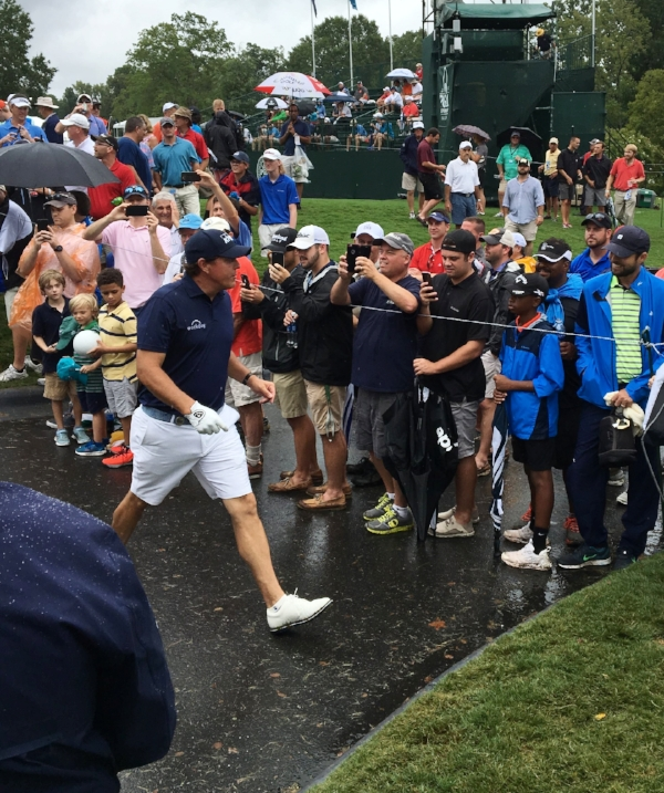 Phil Mickelson greeting fans during his practice round on Tuesday. | Photo: Chris White
